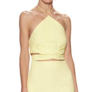 Nicholas Yellow Cut Out Halter Crop Top size 4